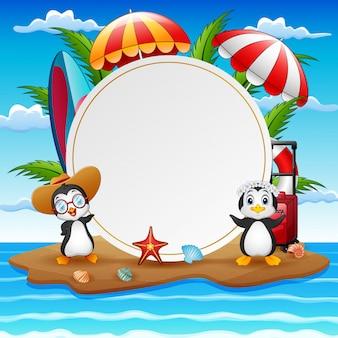 Fondo de vacaciones de verano con pingüinos en la isla