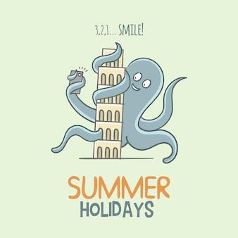 Fondo de vacaciones de verano con pulpo