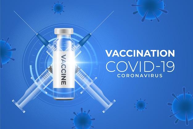 Fondo de vacunación de coronavirus con jeringa.