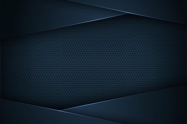 Fondo de vector abstracto azul oscuro con características superpuestas.