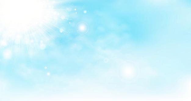 Fondo de vector abstracto cielo de verano con nubes y sol.