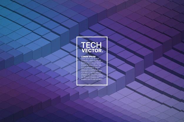 Fondo de vector abstracto de forma de onda de tecnología 3d
