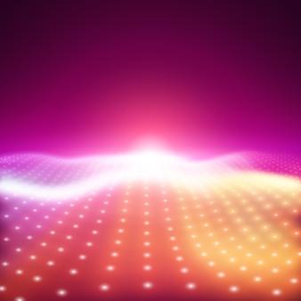 Fondo de vector abstracto con luces de neón de colores formando una superficie ondulada. flujo de superficie cibernética de neón. alivio cibernético colorido suave de partículas brillantes.