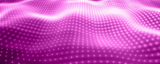 Fondo de vector abstracto con luces de neón violetas que forman una superficie ondulada