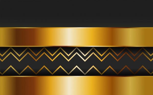 Fondo de vector abstracto de oro premium de lujo con línea de oro. capas de superposición con efecto de papel. plantilla digital efecto de luz realista sobre fondo de oro con textura de línea.