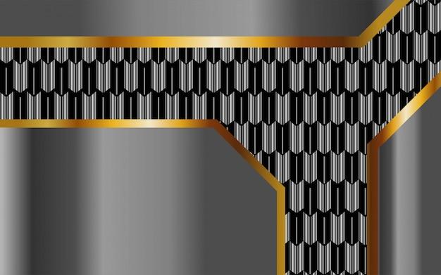 Fondo de vector abstracto plata premium de lujo con línea de oro. capas de superposición con efecto de papel. plantilla digital efecto de luz realista sobre fondo plateado texturizado