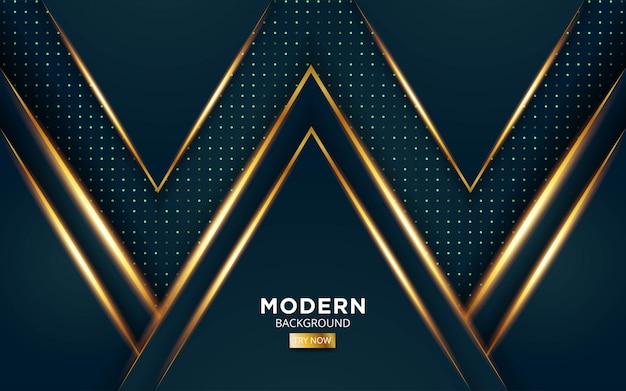 Fondo de vector abstracto premium verde moderno con líneas de luz doradas en textura de puntos.