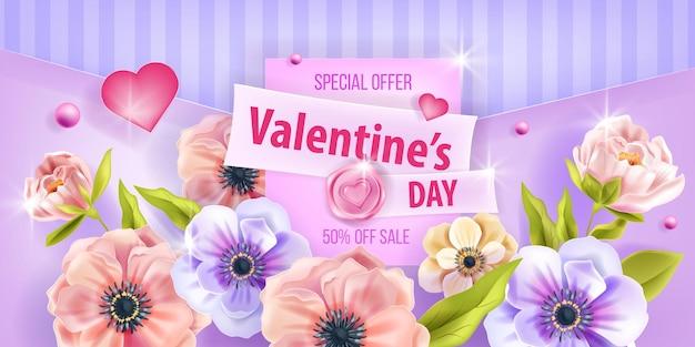 Fondo de vector de amor de san valentín, tarjeta de venta promocional con peonía, corazones, flores de anémona. folleto de saludo romántico floral de vacaciones, cartel de primavera. diseño de fondo de flor de naturaleza de día de san valentín