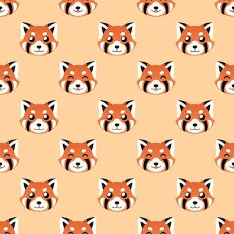 Fondo de vector de cara de panda rojo lindo inconsútil