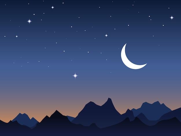 Fondo de vector de cielo y montañas de amanecer