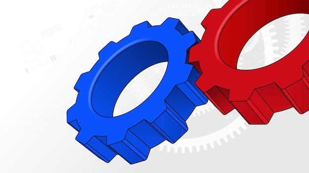 Fondo de vector de concepto de trabajo en equipo de negocios de tecnología de engranajes de rueda dentada