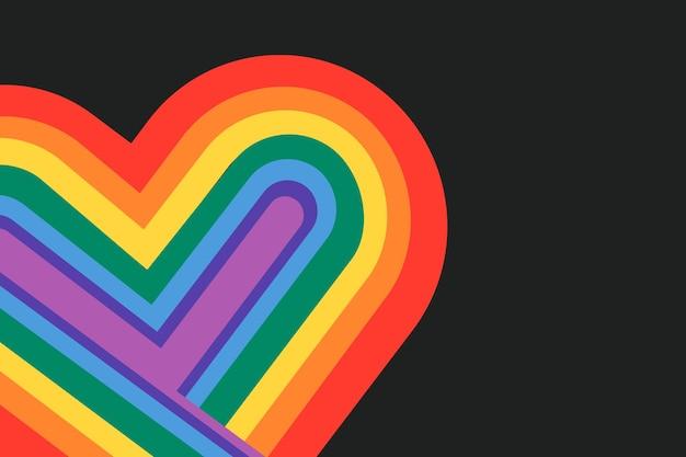 Fondo de vector de corazón de orgullo de arco iris