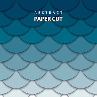 Fondo de vector con corte de papel azul profundo