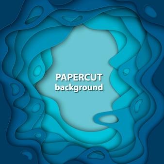 Fondo de vector con corte de papel de color azul profundo