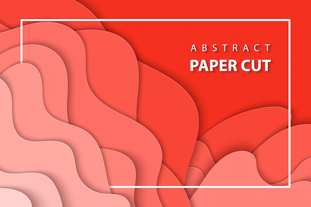 Fondo de vector con corte de papel pastel coral