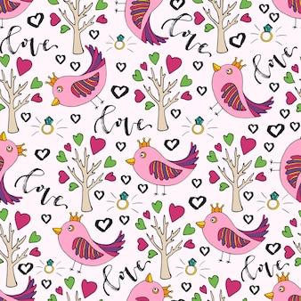 Fondo de vector para el día de san valentín. lindo doodle de patrones sin fisuras con pájaro y árbol de amor