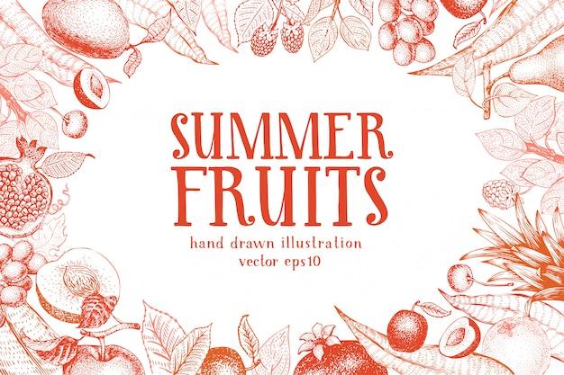 Fondo de vector dibujado a mano de frutas.