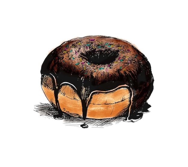 Fondo de vector de dibujo de donut de chocolate