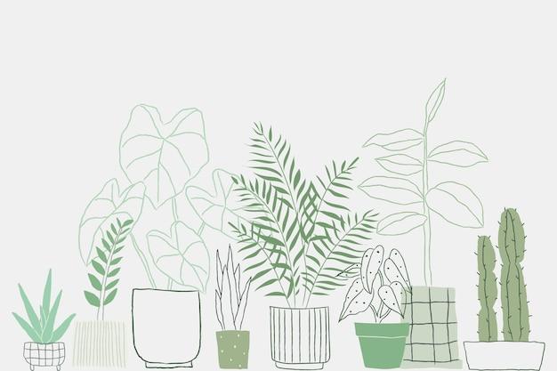 Fondo de vector de doodle de planta en maceta con espacio en blanco