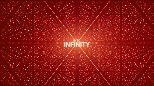 Fondo de vector espacio infinito. estrellas brillantes con ilusión de profundidad, perspectiva. fondo geométrico con matriz de puntos como celosía.