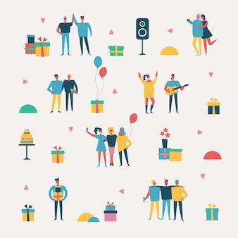 Fondo de vector en un estilo plano de grupo de mejores amigos felices celebrando la fiesta de cumpleaños.