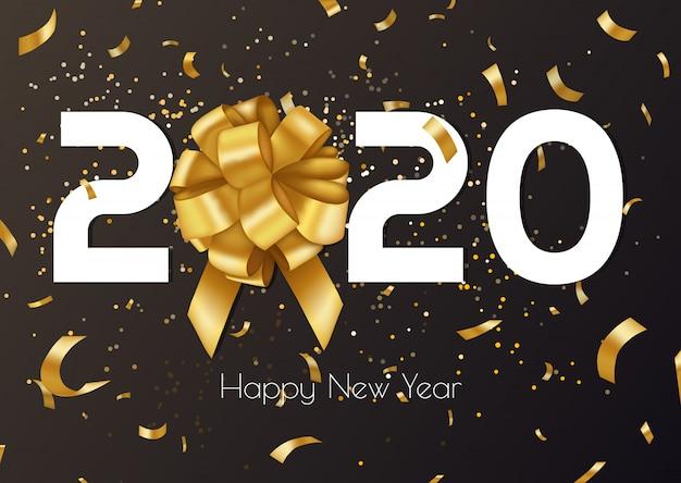 Fondo de vector de feliz año nuevo 2020 con arco de regalo dorado, confeti, números blancos. banner de diseño de navidad.