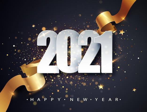 Fondo de vector de feliz año nuevo 2021 con cinta de regalo dorada, confeti, números blancos.