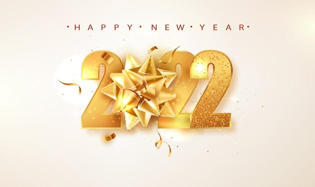 Fondo de vector de feliz año nuevo 2022 con arco de regalo dorado, confeti, números blancos. plantilla de diseño de tarjeta de felicitación de vacaciones de invierno. carteles de navidad y año nuevo