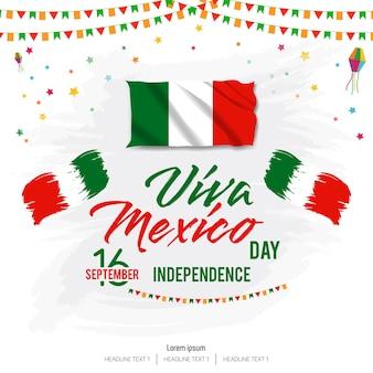 Fondo de vector de feliz día de la independencia de viva mexico