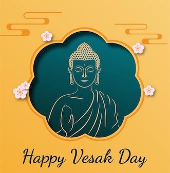 Fondo de vector de feliz día de vesak budha purnima