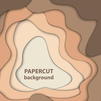 Fondo de vector con formas de corte de papel de color marrón y beige. estilo de arte de papel abstracto en 3d.