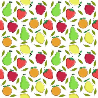 Fondo de vector de frutas, patrones sin fisuras de frutas