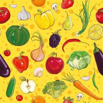 Fondo de vector con frutas y verduras de colores brillantes. patrón sin costuras.