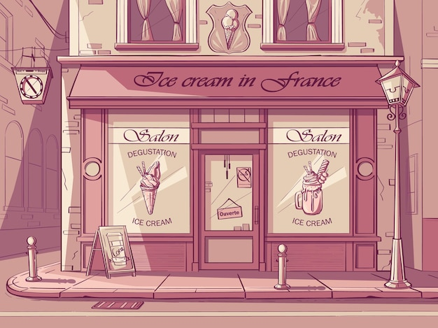 Fondo de vector heladería. imagen de la cafetería frozen yogurt en colores rosas.