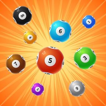 Fondo de vector de juego 3d de bolas de lotería de bingo