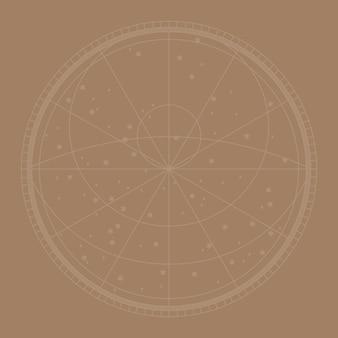 Fondo de vector de mapa de constelación de línea en marrón