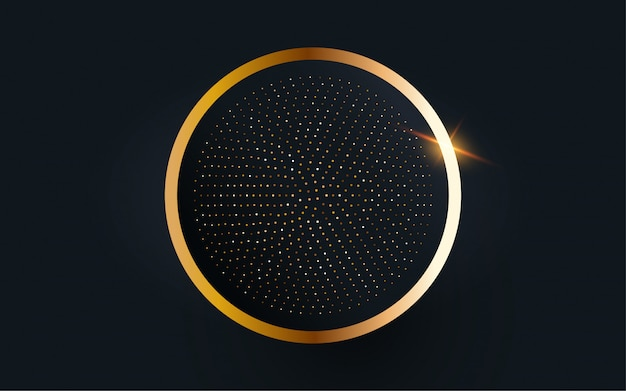 Fondo de vector de marco de círculo de oro.