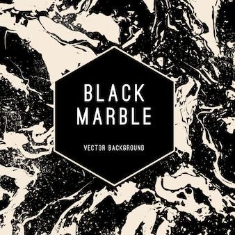 Fondo de vector de mármol negro con banner de forma hexagonal. bandera de vector moderno de estilo de lujo.
