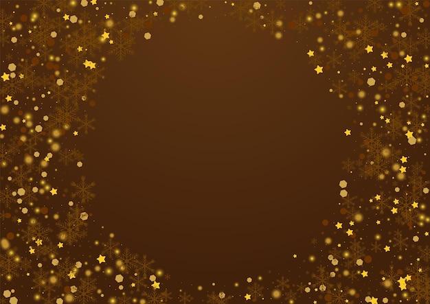 Fondo de vector marrón brillante confeti. tarjeta de puntos luminosos de bokeh. telón de fondo de estrellas mágicas. postal de escamas sutiles.