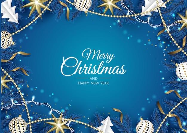 Fondo de vector de navidad. tarjeta de felicitación de diseño creativo, pancarta, póster. caja de regalo de vista superior, bolas de decoración de navidad y copos de nieve.