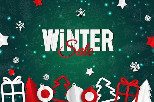 Fondo de vector de navidad. tarjeta de felicitación de diseño creativo, pancarta, póster. caja de regalo de vista superior, bolas de navidad. estilo de arte de papel.