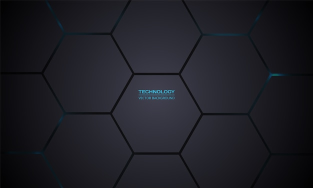 Fondo de vector oscuro hexagonal de tecnología. cuadrícula de textura de panal gris.
