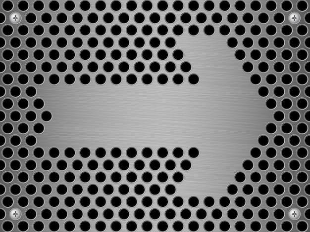 Fondo de vector de pared de acero abstracto y signo de flecha