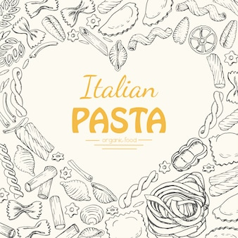 Fondo de vector con pasta italiana