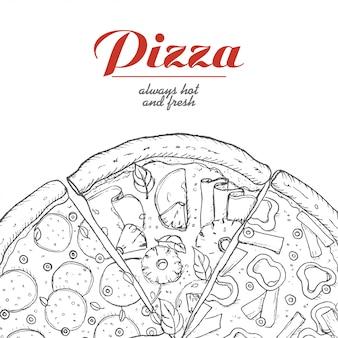 Fondo de vector con piezas de pizza