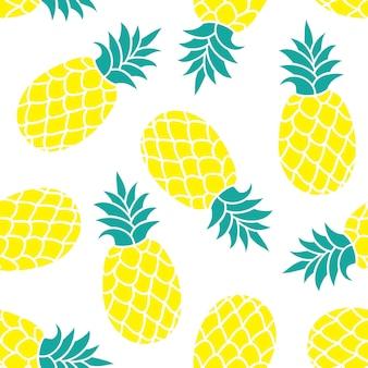 Fondo de vector de piña verano colorido estampado textil tropical.