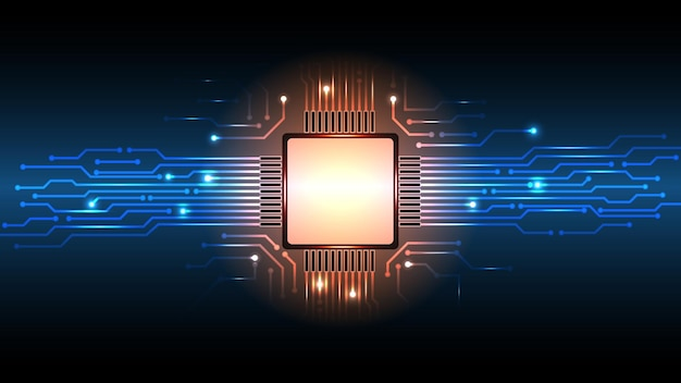 Fondo de vector de placa de circuito de microprocesador de computadora abstracta.