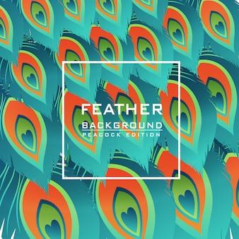 Fondo de vector de pluma pavo real patrón