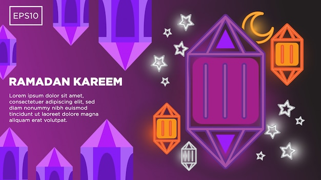 Fondo de vector de ramadan kareem con plantilla de imagen y texto de ilustración de linterna islámica