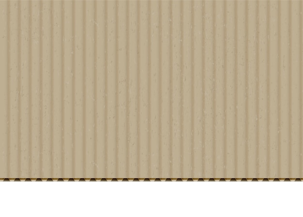 Fondo de vector realista de borde de hoja corrugada de cartón. papel artesanal con borde cortado sobre fondo blanco. caja de cartón, material de caja textura de la superficie en blanco. cartón beige con ilustración de textura de flauta